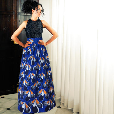 African Long Skirt - Blue, orange and white print