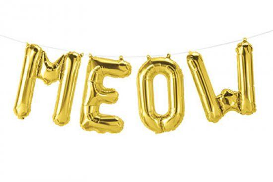 MEOW Gold Air Filled Foil Balloon