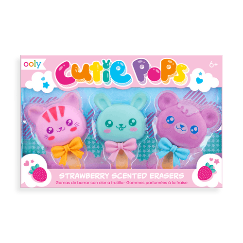 Cutie Pops Strawberry Scented Erasers