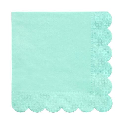 Mint Scalloped Edge Napkins Large