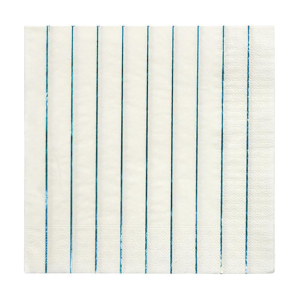 Holographic Blue Striped Napkins Large