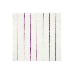 Metallic Pink Striped Napkins Small