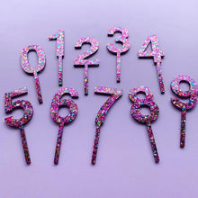 Load image into Gallery viewer, Glittery Pink Cake Topper Number 5
