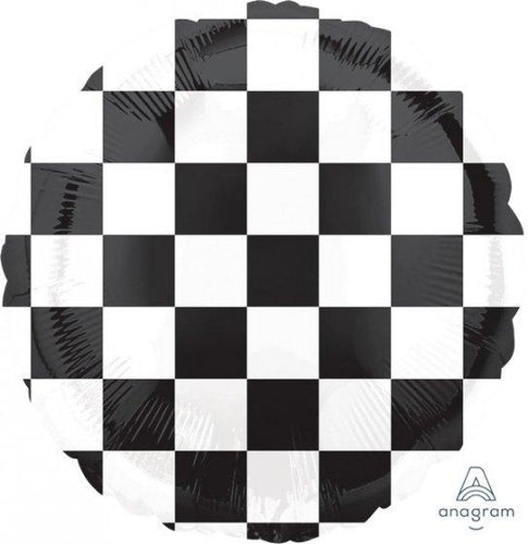 Checkerboard Racing Flag Round Foil Balloon