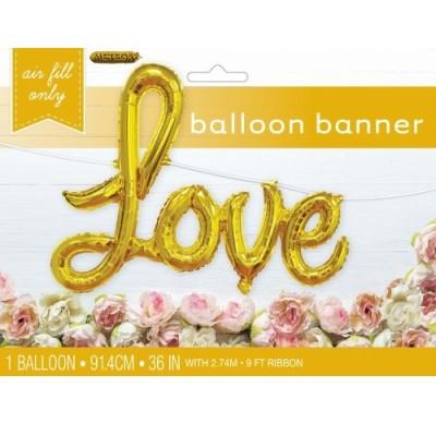 Gold 'LOVE' script foil balloon