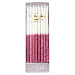 Pink Glitter Dipped Party Candles Set 16