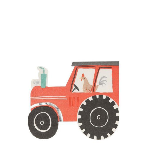On The Farm Tractor Napkins (Pack 16)