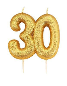 Gold Glitter Number 30 Candle