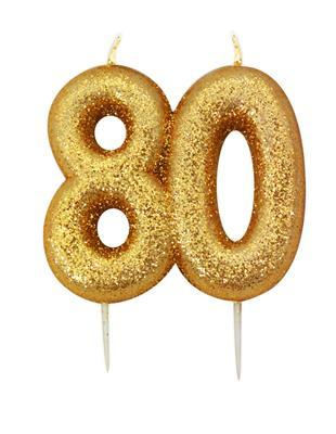 Gold Glitter Number 80 Candle