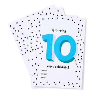 Blue 10th Birthday Party Invites (Pack 12)