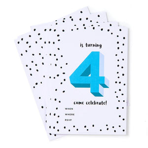 Blue 4th Birthday Party Invites (Pack 12)