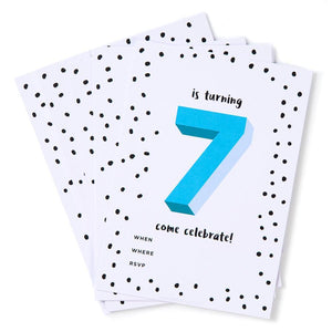 Blue 7th Birthday Party Invites (Pack 12)