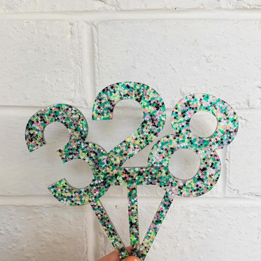 Green Glittery Cake Topper Number 5