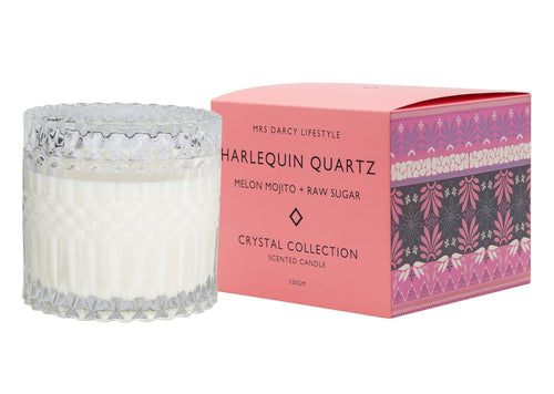 Mrs Darcy Candle Harlequin Quartz - Melon Mojito + Raw Sugar