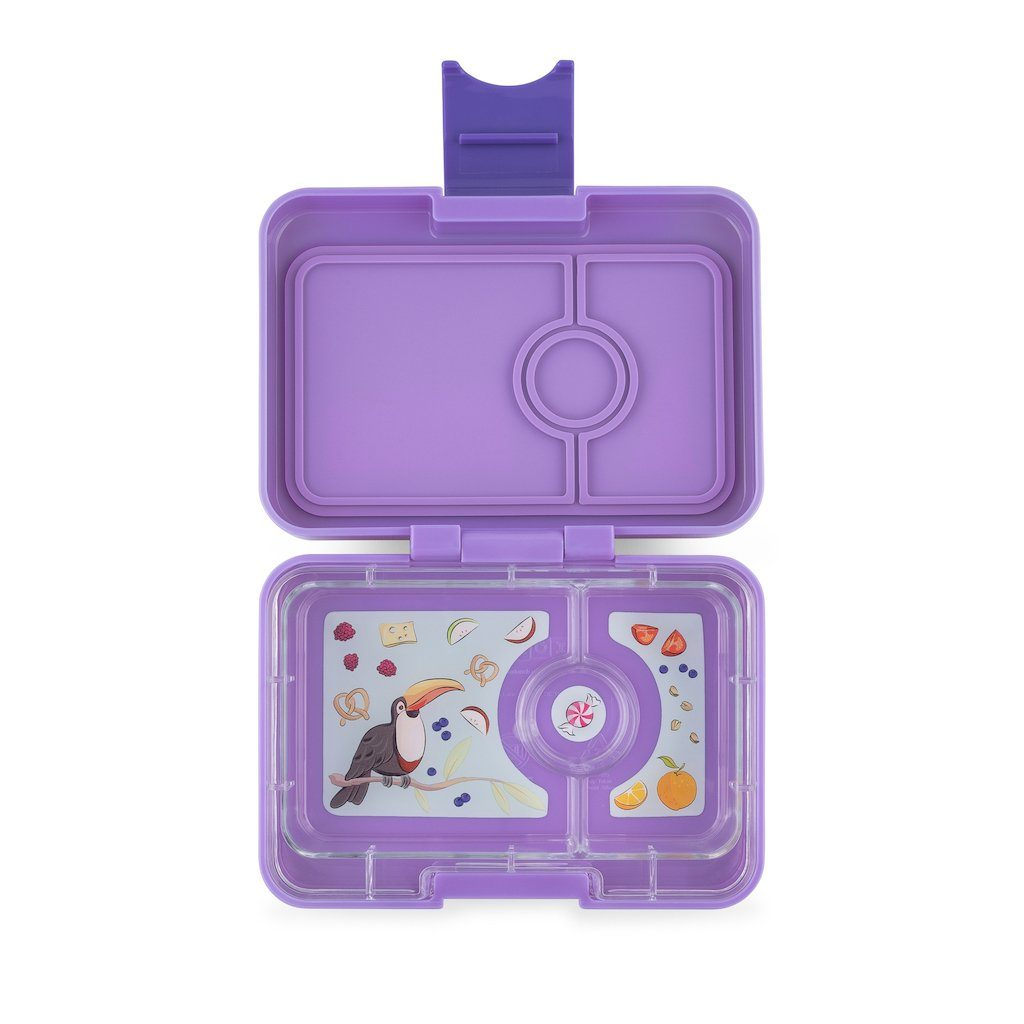 Yumbox Snack 3 Compartment Dreamy Purple Toucan Tray