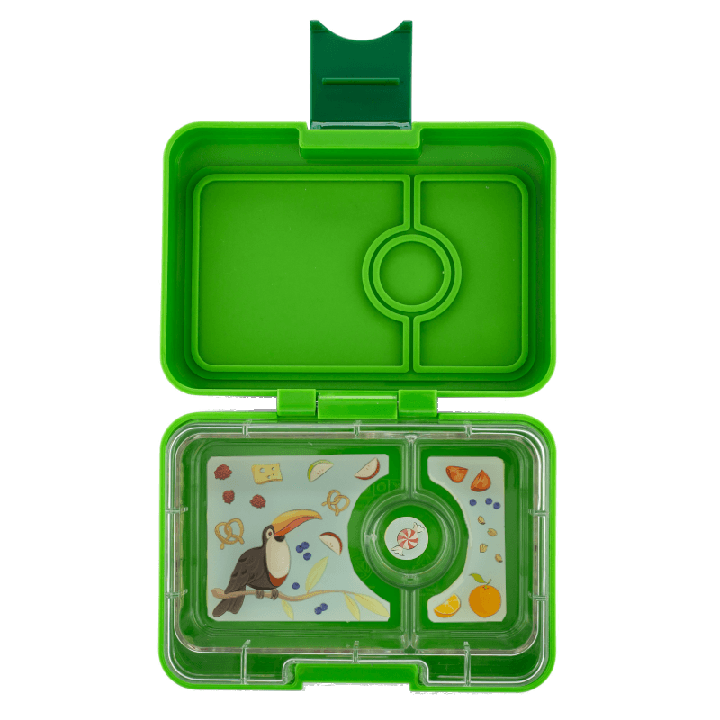 Yumbox Snack 3 Compartment Avocado Toucan Tray