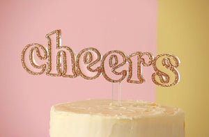 Cheers Rose Gold Cake Topper