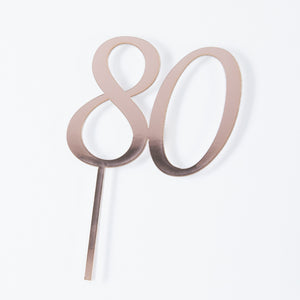 Rose Gold '80' Acrylic Cake Topper