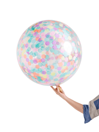 INFLATED Jumbo Confetti Balloon Pastel Rainbow