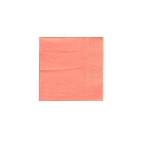 Oh Happy Day Cocktail Napkin Neon Coral (Pack 20)