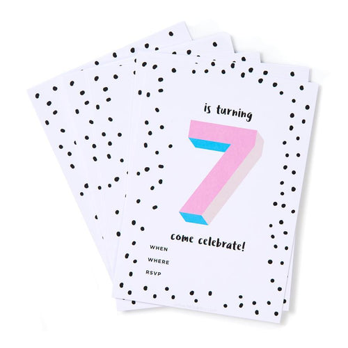 Pink 7th Birthday Party Invites (Pack 12)