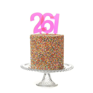 Pink Neon Number Cake Topper