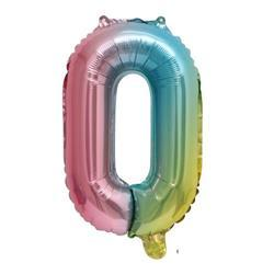 Rainbow Ombre Jumbo Foil Balloon - Number 0