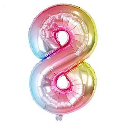 Rainbow Ombre Jumbo Foil Balloon - Number 8