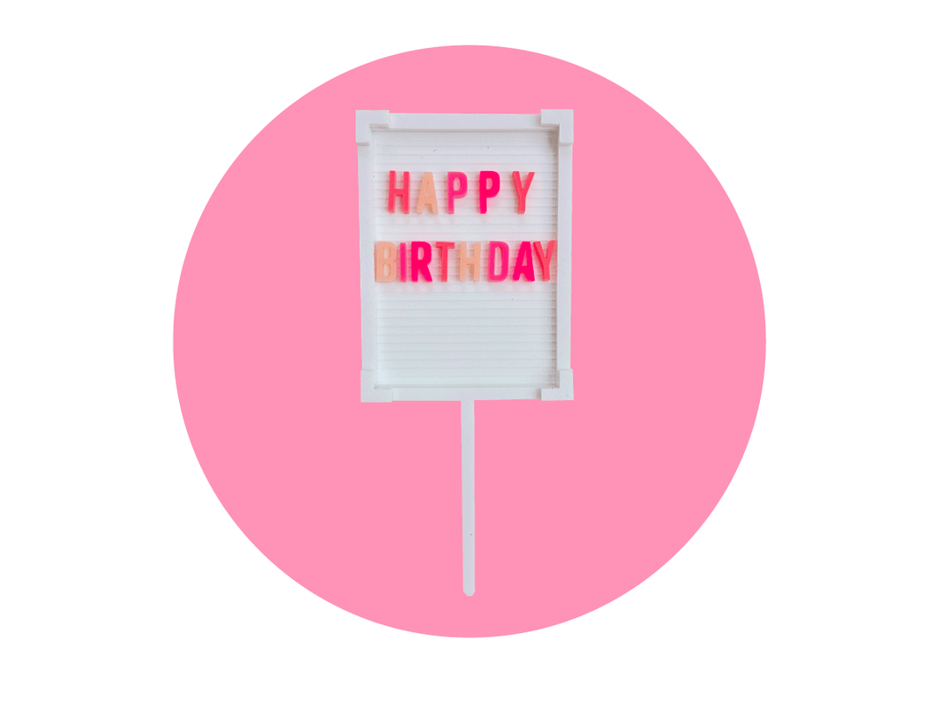 Happy Birthday Pink Ombre Letterboard Topper