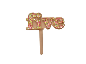 Five Is Fun Peachy Pink + Zing Confetti Cake Topper