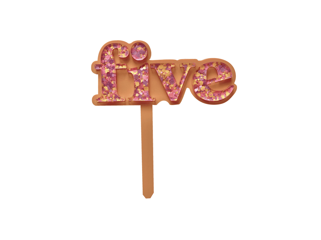 Five Is Fun Pastel Peach + Sorbet Confetti Cake Topper