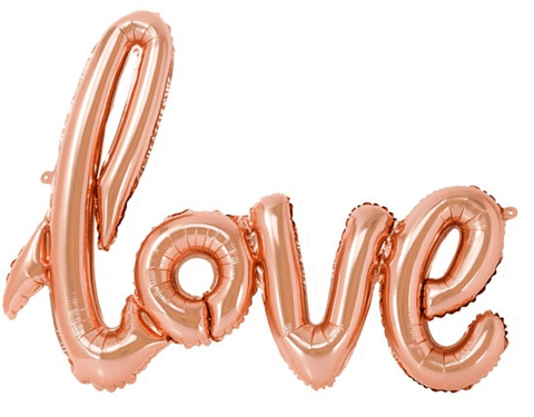 Rose gold 'LOVE' script foil balloon
