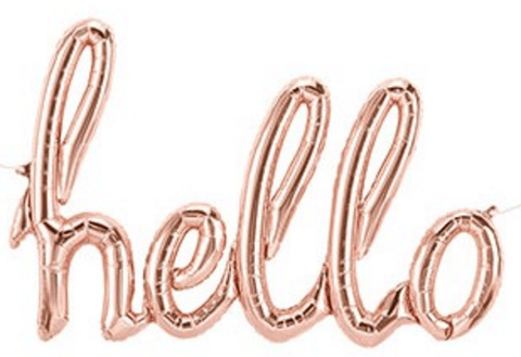 Hello Rose Gold Air Filled Foil Balloon