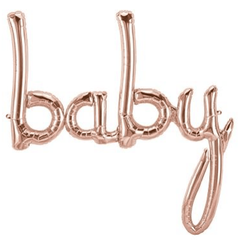 Rose Gold BABY script foil balloon