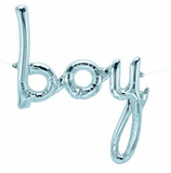 Blue BOY script foil balloon