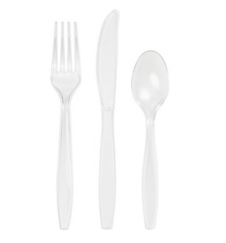 Clear Plastic Cutlery Set 24