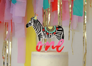 Party Zebra Acrylic Cake Topper