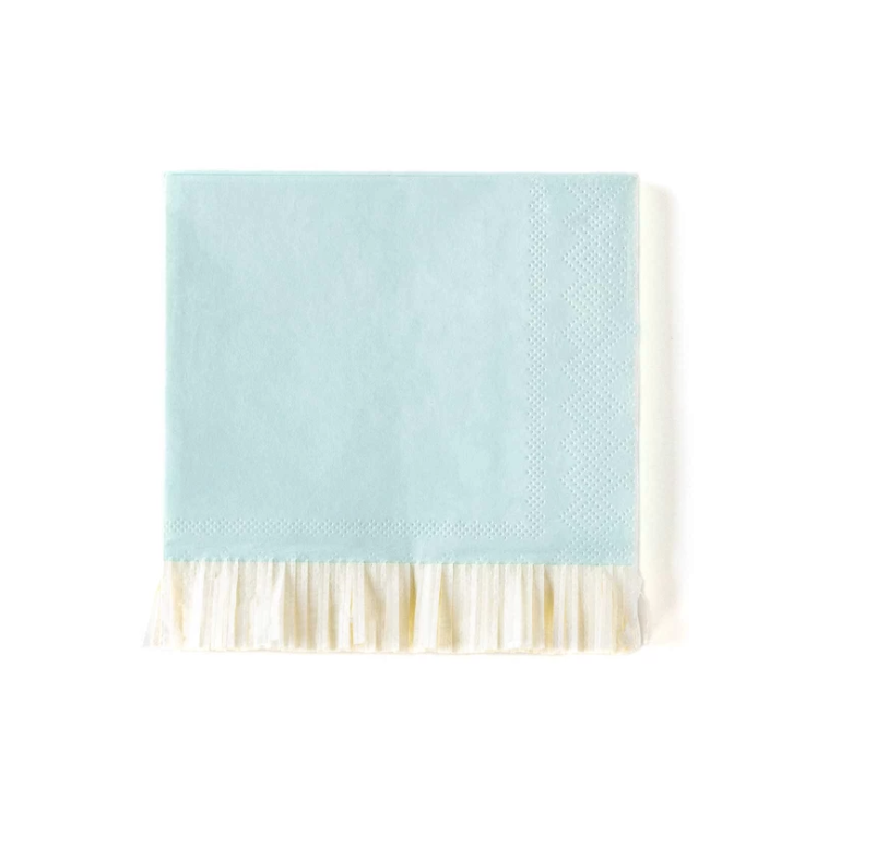 Fringed Baby Blue Party Napkins