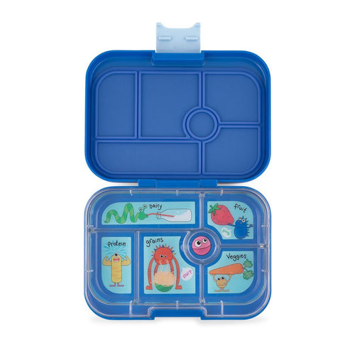 Yumbox Original 6 Compartment True Blue Funny Monsters Tray