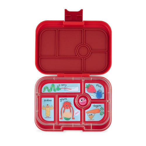 Yumbox Original 6 Compartment WOW Red Funny Monsters Tray