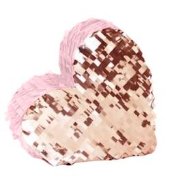 Rose Gold & Pink Heart Pinata