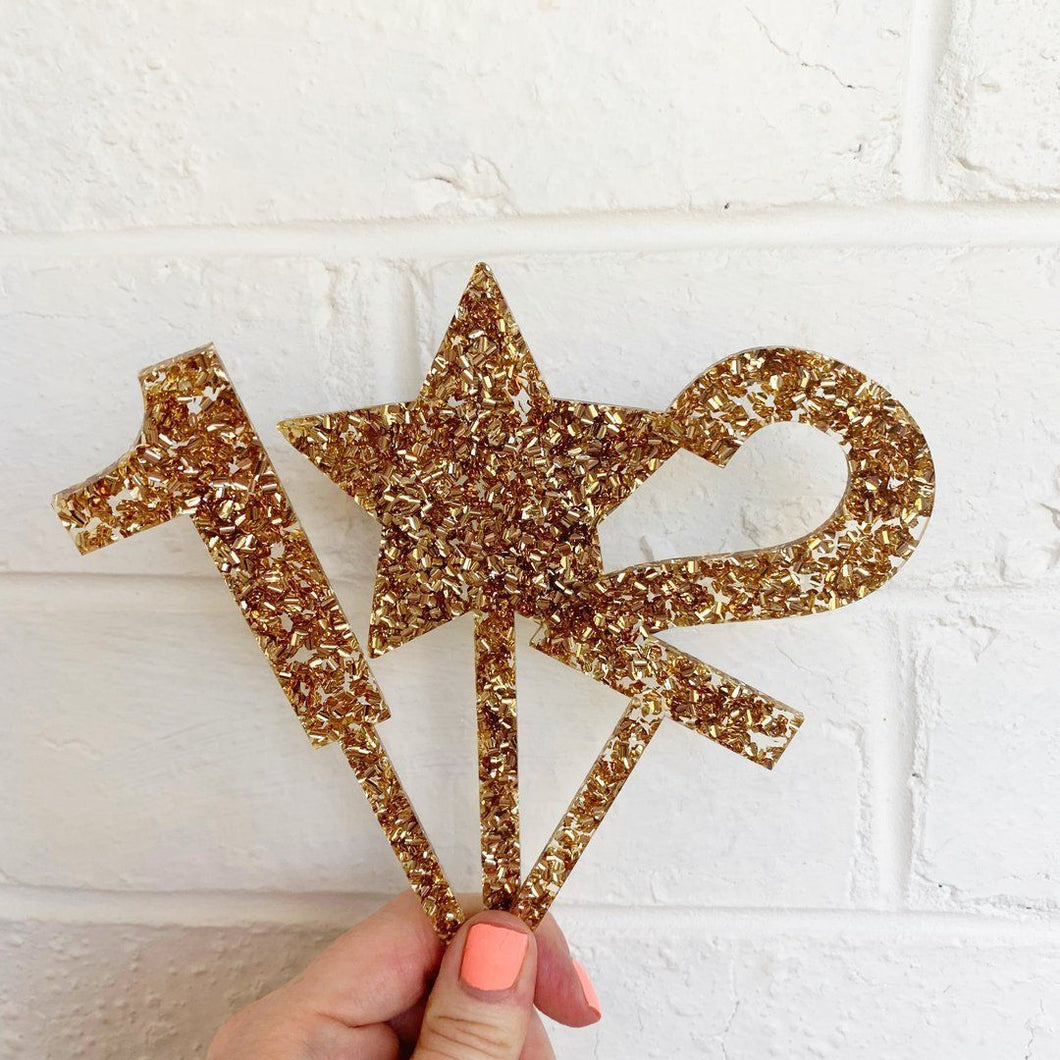 Glittery Gold Cake Topper Number 3