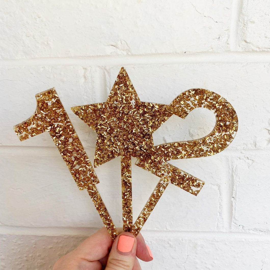 Glittery Gold Cake Topper Number 0