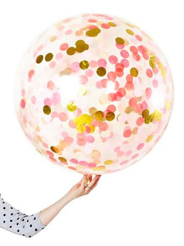 Poppies for Grace Jumbo Confetti Balloon Pink Shimmer