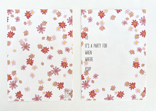 Floral Daisy Party Invites (Pack 10)