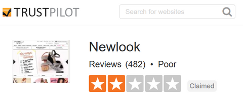 New Look Trustpilot.com Feedback Score