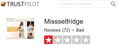 Miss Selfridge Trustpilot.com Feedback Score
