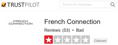 French Connection Trustpilot.com Feedback Score