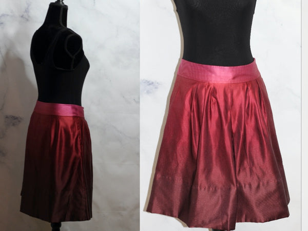 Ann Taylor Silk Two Tone Cranberry Skirt (2)