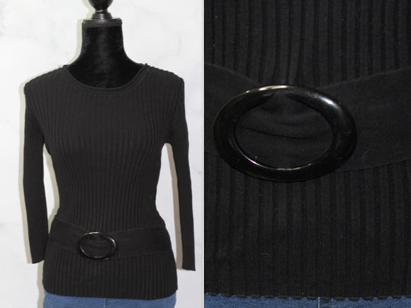 August Silk Black Long Sleeve Top (M)